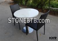 KKR White Round Solid Surface Coffee Table, Coffee Shop Tables And Chairs