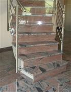 red granite stair