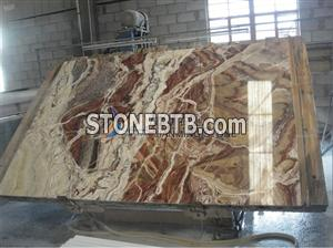 red onyx feature wall