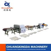 Dry Type Full Automatic Single Blade procelain tiles bricks ceramics Cutting Squaring Line