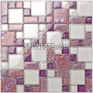 Purple color glass mosaic tiles kitchen, bathroom glass mosaic tiles wall tile
