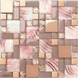 Pink color glass mosaic tile glass mosaic wall tile