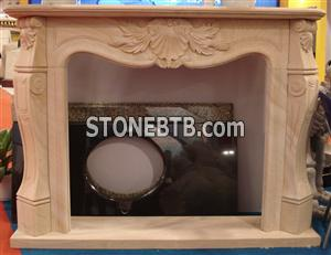 Yellow Wooden Sandstone Fireplace