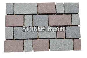 Porphyry Red Grey Green Paving Stone On Mesh