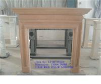 Wood Yellow Sandstone Fireplace