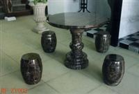 Black Marble Exterior Table Set