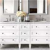 Carrara White Marble Top Modern Double Sink Bathroom Vanity, 72-Inch