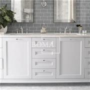 84 In Antique White 2 Sink Bathroom Vanity With Generous Storage Drawers
