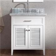 White Small Bathroom Floor Storage Vanity Cabinet Country Style 30 Inch