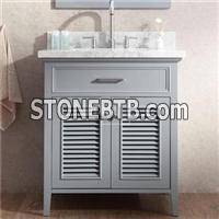 Traditional Bathroom Vanity Combo 30 Inch With Shutter Doors In Grey