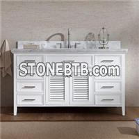60 Inch White Cottage Style Single Vanity With Wooden Storage Drawers