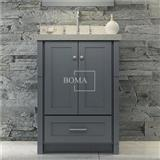24 In Single Bowl Dark Grey Bathroom Vanity Cabinet Only