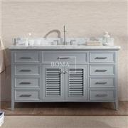 60 Inch Gray Cottage Bathroom Single Sink Vanity Base Cabinet