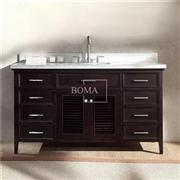 60 In Espresso Bathroom Vanity Cabinet With Louvered Cabinet Doors And Drawers
