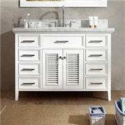 48 White Cottage Style Bathroom Sink Vanity With 8 Drawers