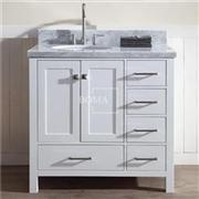 36 Inch Left Offset White Bathroom Vanity Cabinet Only