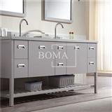 72-in Modern Open Shelving Bathroom Vanity Cabinet Set Double Sink With Top And Mirror