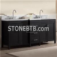 Black Double Sink Bathroom Vanity With White Carrara Marble Top And Sink 72 Inch