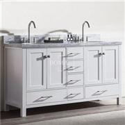 60 Inch Off White Double Sink Bathroom Vanity With Marble Top