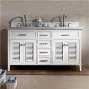 Country Bathroom Vanity Cabinet White 60 Inch Double Sink