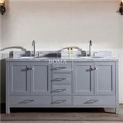 72 Inch Gray Contemporary Double Bowl Bathroom Vanity Without Top
