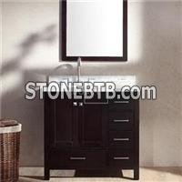 Left Offset Espresso Single Bathroom Vanity Cabinet 36 With Mirror, Top And Sink