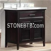 30 In Espresso Single Sink Traditional Bathroom Vanity With White Marble Top