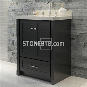 24 Black Single Bathroom Vanity Cabinet With Top And Sink