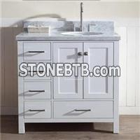 36 White Contemporary Bathroom Vanity With Drawers On Left Side