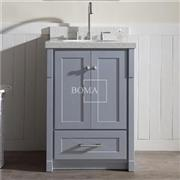 24 Inch Shaker Style Two Door Bathroom Vanity Cabinet In Gray Finish