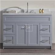 48 In Bathroom Storage Vanity Cabinet, Grey, Shaker Style, 2 Doors, 4 Drawers
