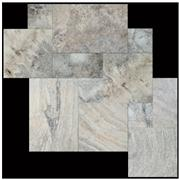 Unfilled Brushed Silver Travertine French Pattern