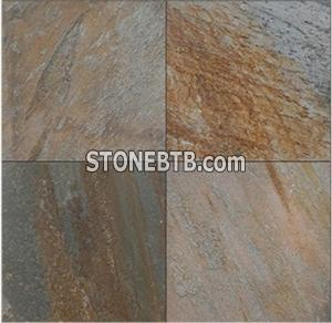 Yellow Wooden Vein Slate Flooring Tiles