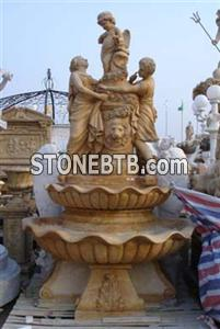 Yellow Marble Carved Fountain MP113