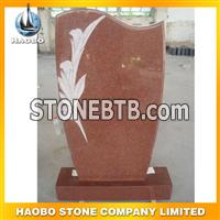 red granite flower carving monument22