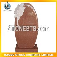 red granite flower carving monument23
