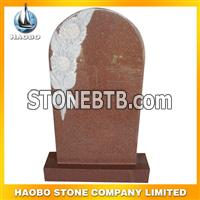 red granite flower carving monument24