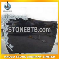 black granite flower carving monument26