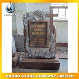 red granite flower carving monument29