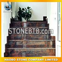 Red granite staircase