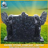 Blue pearl double angel tombstone