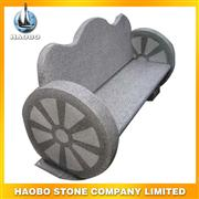 wheel design stone bench