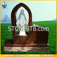 Indian red granite tombstone
