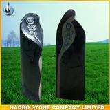 German black granite carved tombstone