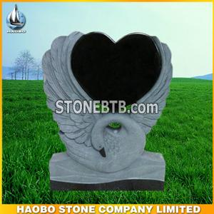 new granite headstone,swan carving style