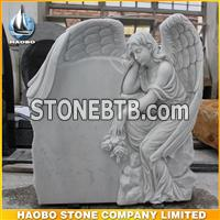 New America Design White Marble Angel Headstone