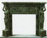 Green granite fireplace