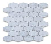 Carrara white marble elongated hexagon mosaic