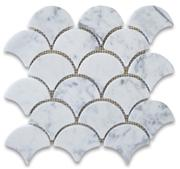 Italy Carrara white marble fan shape mosaic tiles