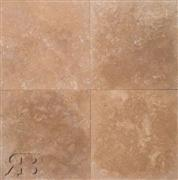 Cappuccino 24x24 Brushed, Chiseled Travertine Tile
